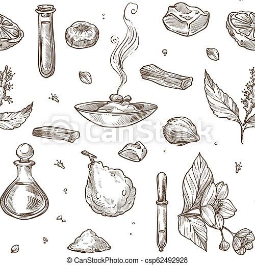 Perfume natural ingredients seamless pattern  Aromatic jasmine