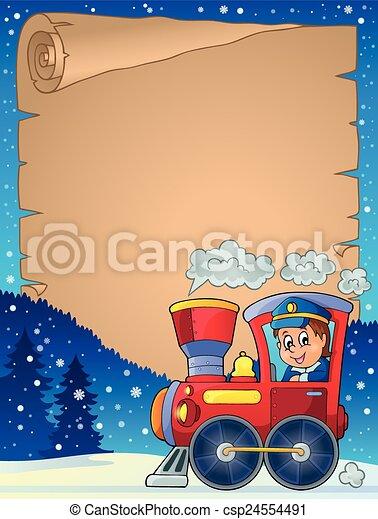 pergamena, locomotiva, inverno - csp24554491