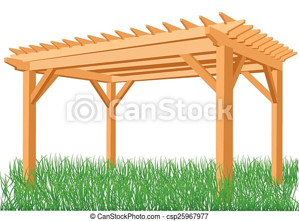 Wooden Pergola Isolated On A White Background Vectors Illustration