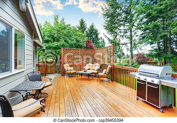 pergola., pont, bois, secteur, attaché, spacieux, patio - csp39455394