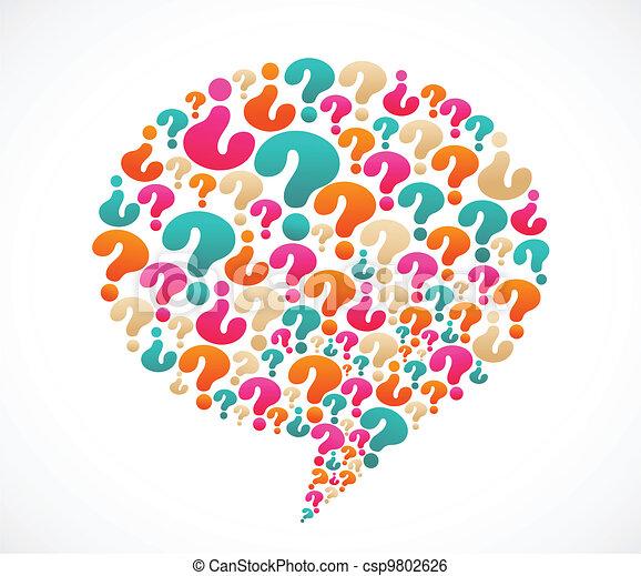 pergunta, fala, marca, bolha, ícones - csp9802626