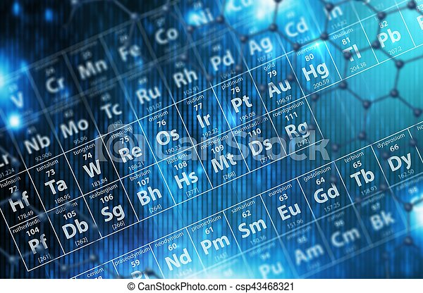 Periodic Table Blue Background - csp43468321