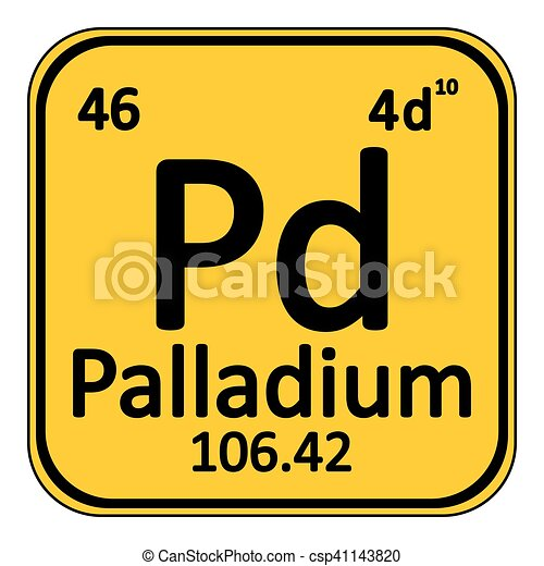 Periodic Table Element Palladium Icon.   Csp41143820