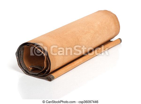 perkament, boekrol - csp36097446