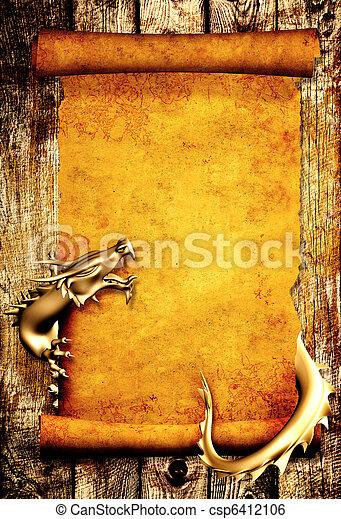 perkament, oud, boekrol, draak - csp6412106
