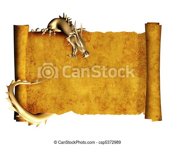 perkament, oud, boekrol, draak - csp5372989