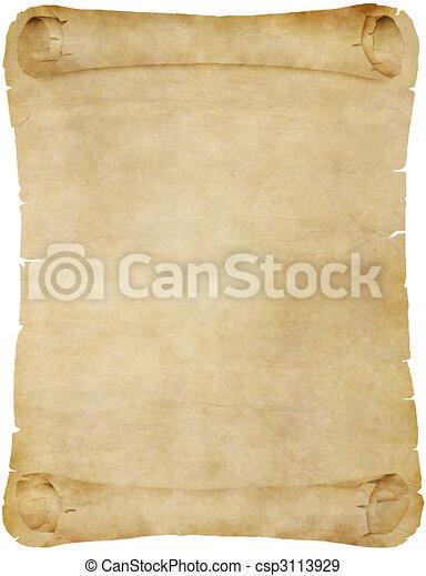 perkament, papier, oud, boekrol, of - csp3113929