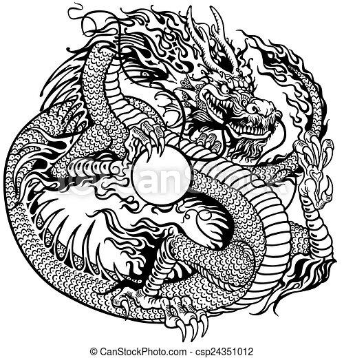 Perla Chino Tenencia Dragón Tatuaje Perla Chino Ilustración