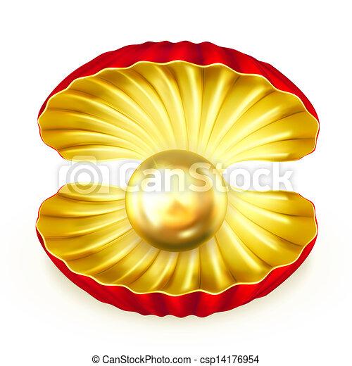 Perla de oro, vector - csp14176954