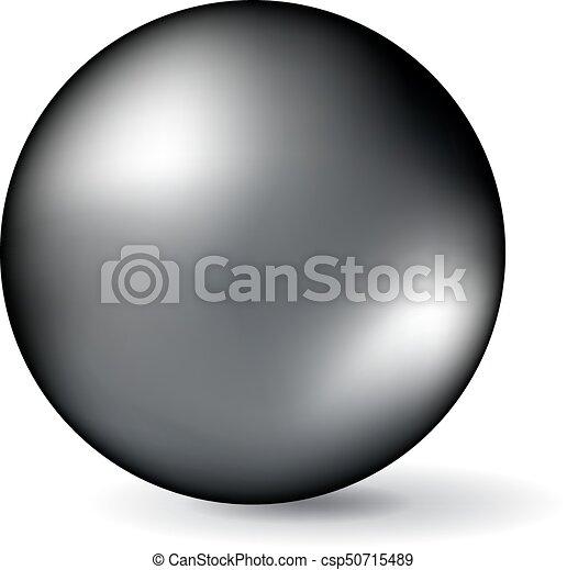 perle, isolé, arrière-plan., vecteur, noir, blanc - csp50715489