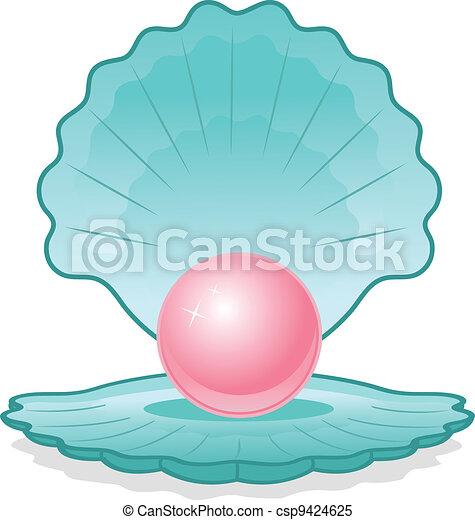 perle rose, coquille - csp9424625