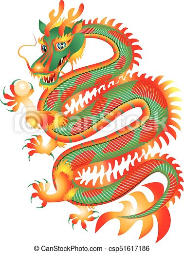 Perle Rouge Vert Dragon Chinois Dragon Chinois Traditionnel