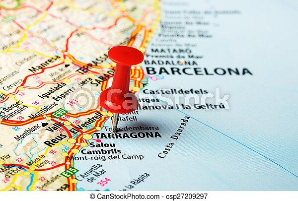 Cartina Spagna Tarragona.Perno Mappa De Tarragona Plana La Perno Mappa Spagna Chiudere Rosso Tarragona Su Concetto Canstock