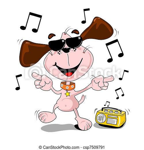 El baile del perro Cartoon - csp7509791