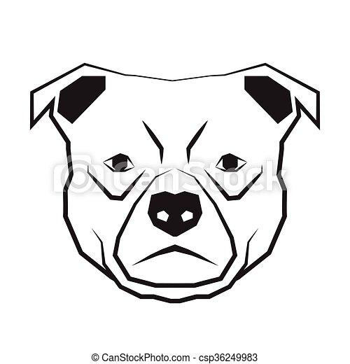 Cara De Perro Negro Y Blanco Contorno De Dibujo Cara De