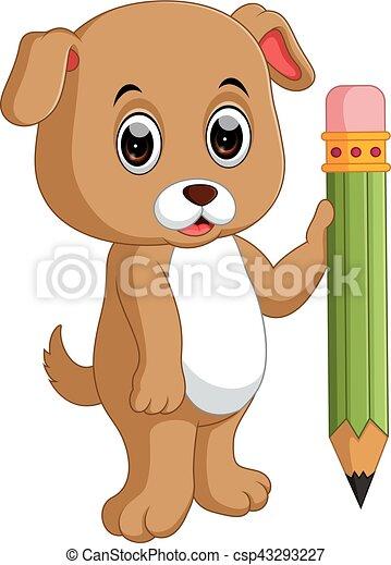 Lindo perro sosteniendo lápiz - csp43293227