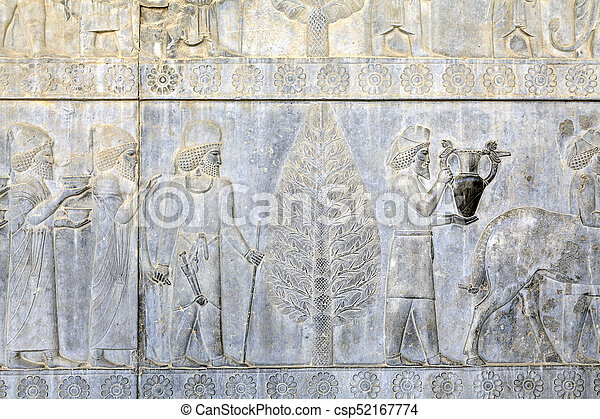 Persepolis Ancient Capital Of Achaemenid Empire Bas Relief On Wall Iran Ancient Persians Carry Presents To The Emperor
