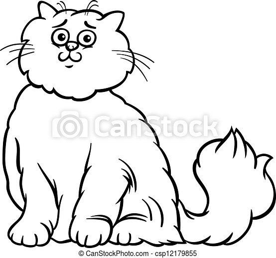persian cat cartoon coloring page  black and white cartoon