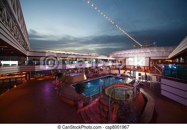PERSIAN GULF - APRIL 14: Swimming Pools on deck of Costa Deliziosa - the newest Costa cruise ship,  April 14, 2010 in Persian Gulf. - csp8001967