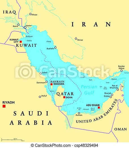 Persian gulf region political map. Persian gulf region countries ...