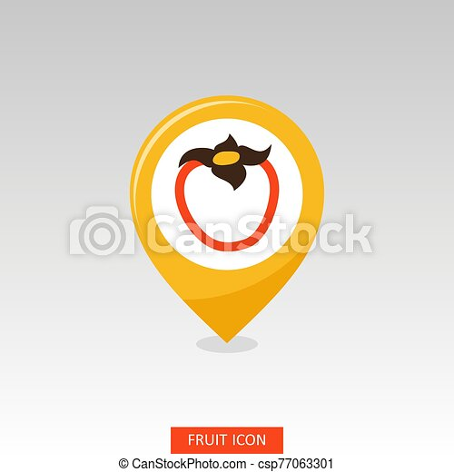 Persimmon pin map icon. Persimmon tropical fruit - csp77063301