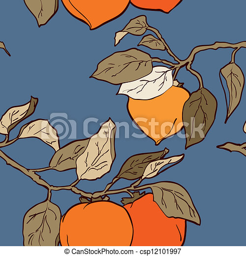 Persimmon seamless pattern vector - csp12101997