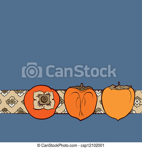 Persimmon seamless pattern vector - csp12102001