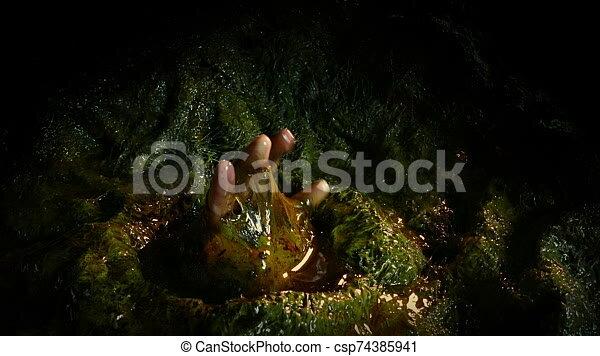 Person Breaks Through Dirty Alien Cocoon Person In Alien Wall