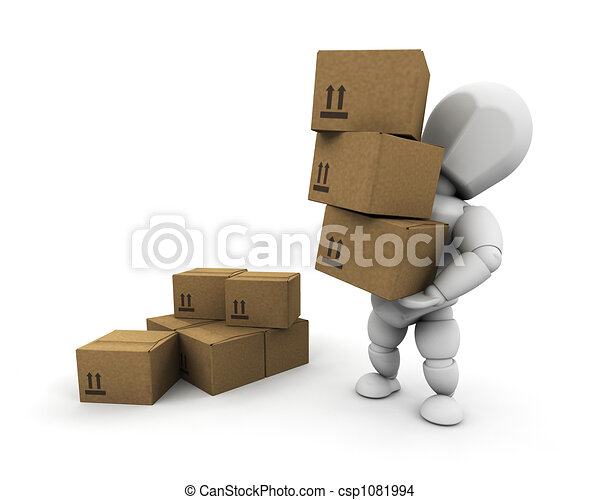 Person carrying boxes - csp1081994