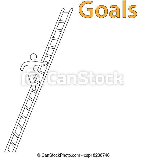 Person climb up ladder achieve high goals - csp18238746