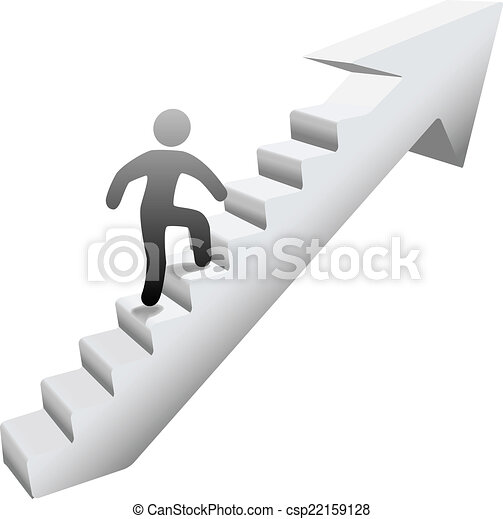 Person climbing stairs to success - csp22159128