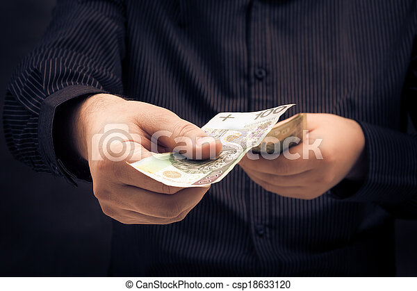 person counting certain amount money - csp18633120