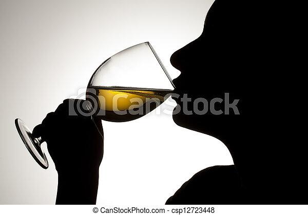 person drinking wine - csp12723448