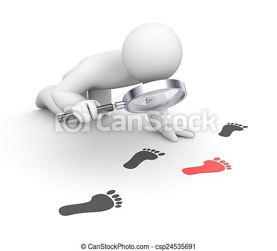 Person examines footprints - csp24535691