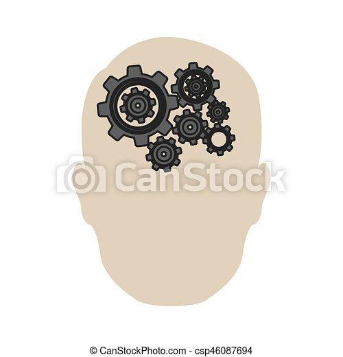 person gear brain icon - csp46087694