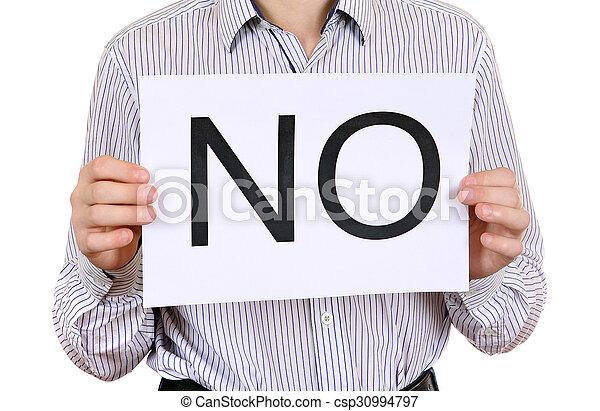 Person hold Slogan NO - csp30994797