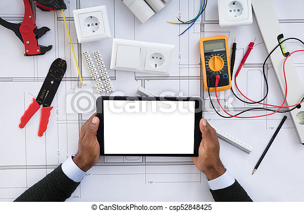 Close up of a person holding blank screen digital tablet on stock person holding blank screen digital tablet on blueprint csp52848425 malvernweather