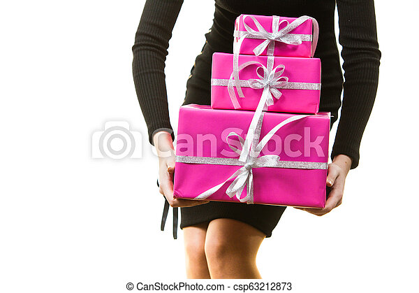 Person holding gifts - csp63212873