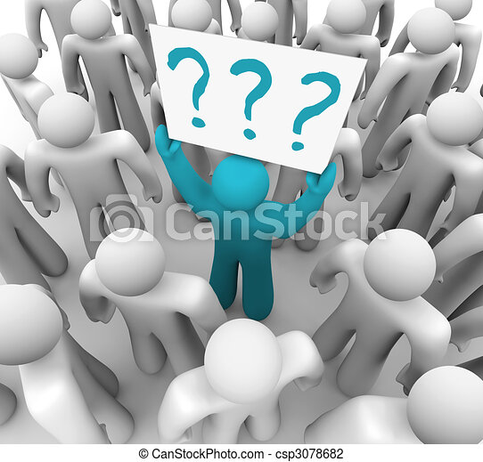Person Holding Question Mark Sign in Crowd - csp3078682