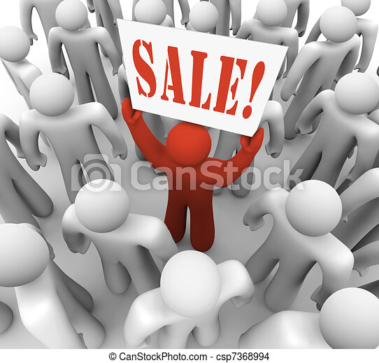 Person Holding Sale Sign in Crowd Advertising Savings - csp7368994