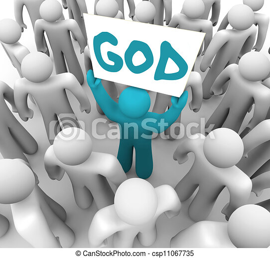 Person Holding Sign Spreading Word Of God A Blue Person Stands Out