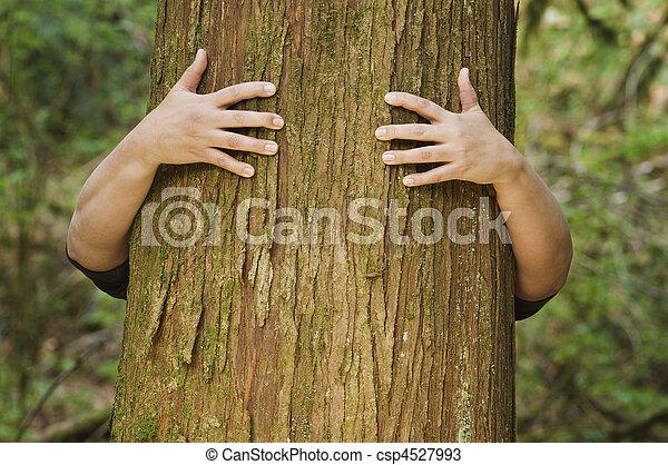 Person hugs a tree - csp4527993