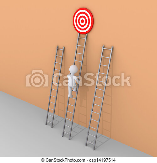 Person is choosing to climb the right ladder - csp14197514