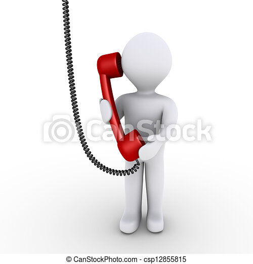 Person is talking on the telephone - csp12855815