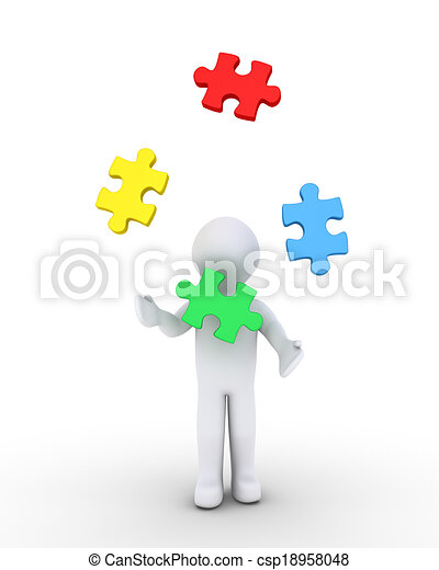 Person juggling puzzle pieces - csp18958048