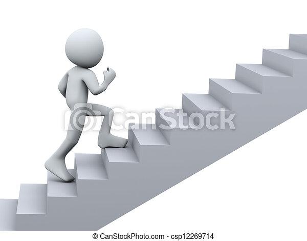 3D Person, die auf Treppen läuft - csp12269714