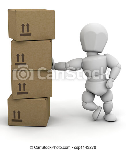 Person leaning on boxes - csp1143278