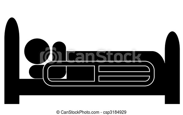 person lying in hospital bed with the safety bar up - csp3184929