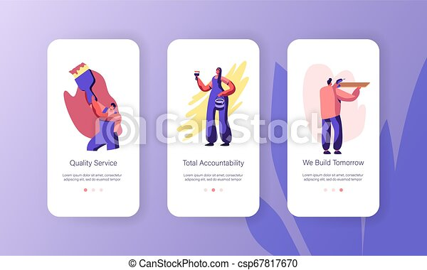 Person Making Renovation at Home Mobile App Page Onboard Screen Set. Woman Painting Wall with Brush. Man Drilling Wooden Shelf. Man Paint Website or Web Page. Flat Cartoon Vector Illustration - csp67817670