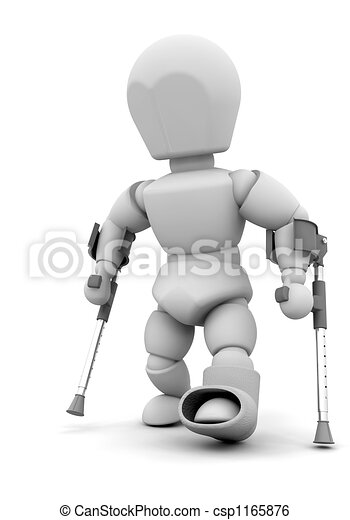 Person on crutches - csp1165876